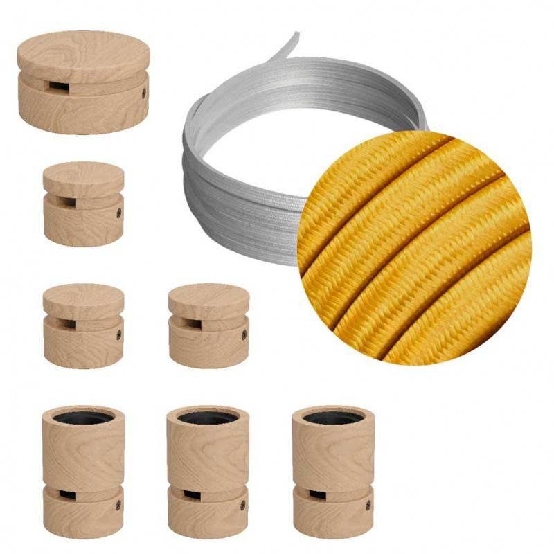 Kit Linear Filé system - avec câbles pour guirlande lumineuse de 5 mètres et 7 composants en bois pour intérieur