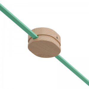 Rosace ovale en bois avec 2 trous latéraux pour le câble plat de guirlande et le système Filé. Fabriqué en Italie