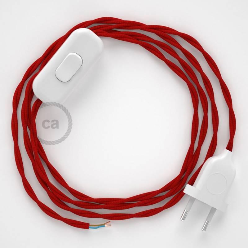 Cordon pour lampe, câble TM09 Effet Soie Rouge 1,80 m. Choisissez la couleur de la fiche et de l'interrupteur!