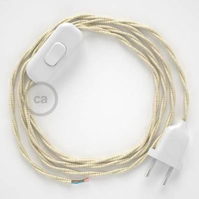 Cordon pour lampe, câble TM00 Effet Soie Ivoire 1,80 m. Choisissez la couleur de la fiche et de l'interrupteur!