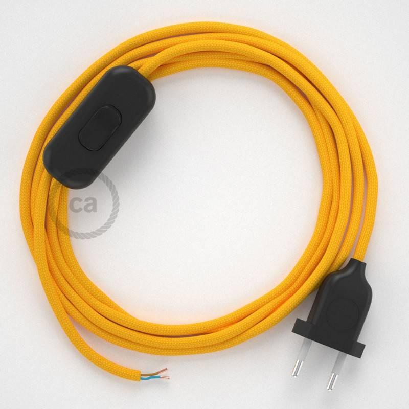 Cordon pour lampe, câble RM10 Effet Soie Jaune 1,80 m. Choisissez la couleur de la fiche et de l'interrupteur!