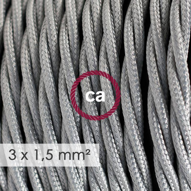 Fil Électrique De Large Section 3x1,50 Torsadé - Tissu Effet Soie Argent TM02