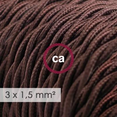 Fil Électrique De Large Section 3x1,50 Torsadé - Tissu Effet Soie Marron TM13
