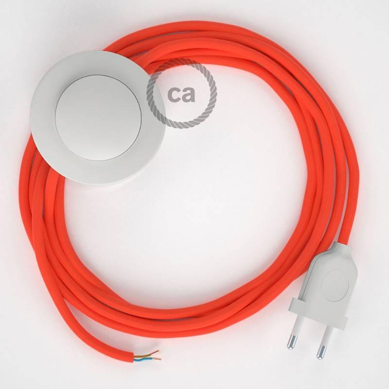 Cordon pour lampadaire, câble RF15 Effet Soie Orange Fluo 3 m. Choisissez la couleur de la fiche et de l'interrupteur!