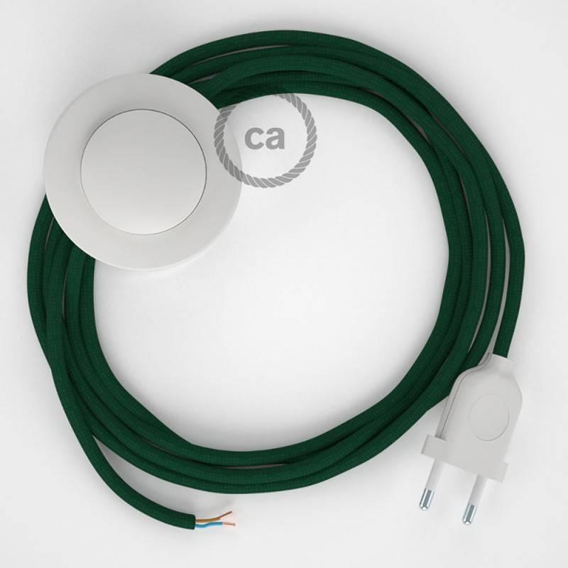 Cordon pour lampadaire, câble RM21 Effet Soie Vert Foncé 3 m. Choisissez la couleur de la fiche et de l'interrupteur!