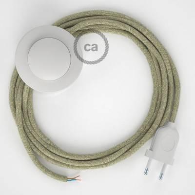 Cordon pour lampadaire, câble RN01 Lin Naturel Neutre 3 m. Choisissez la couleur de la fiche et de l'interrupteur!