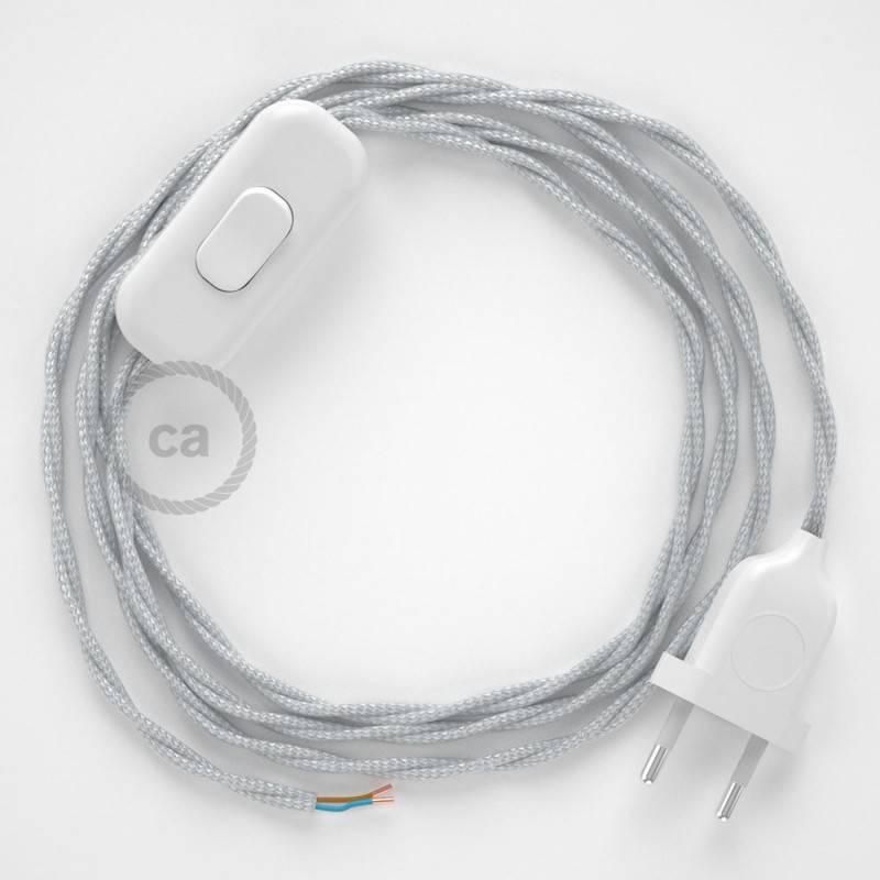 Cordon pour lampe, câble TM02 Effet Soie Argent 1,80 m. Choisissez la couleur de la fiche et de l'interrupteur!