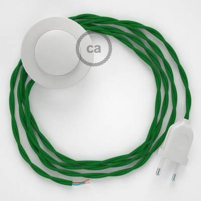 Cordon pour lampadaire, câble TM06 Effet Soie Vert 3 m. Choisissez la couleur de la fiche et de l'interrupteur!