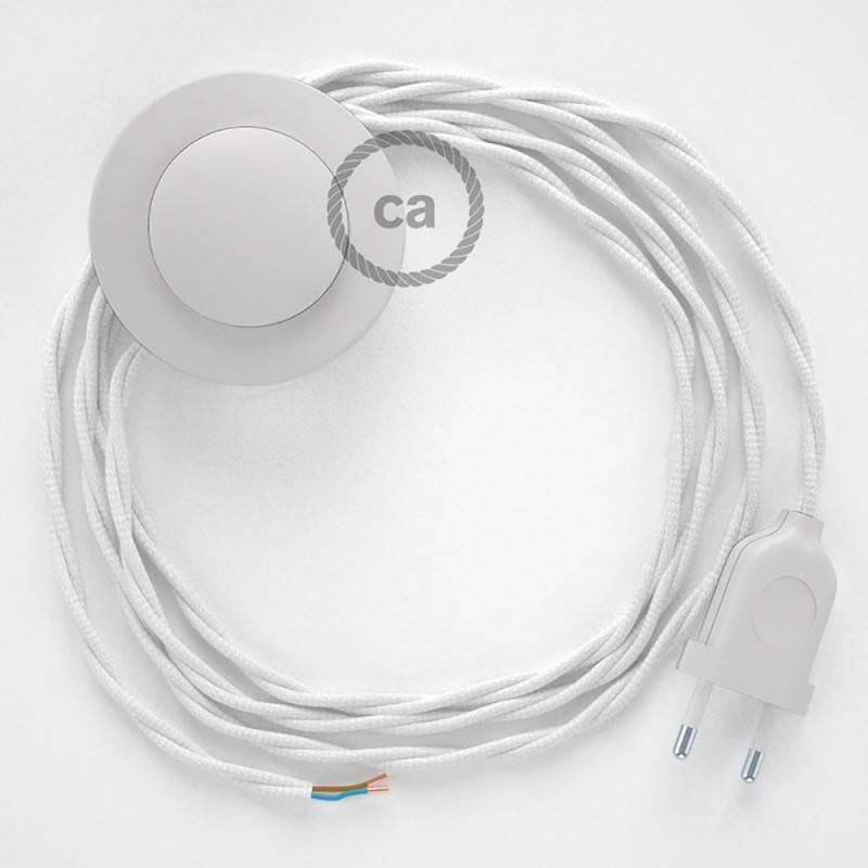 Cordon pour lampadaire, câble TM01 Effet Soie Blanc 3 m. Choisissez la couleur de la fiche et de l'interrupteur!