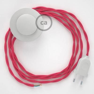 Cordon pour lampadaire, câble TM08 Effet Soie Fuchsia 3 m. Choisissez la couleur de la fiche et de l'interrupteur!