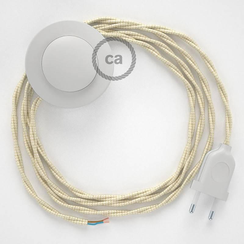 Cordon pour lampadaire, câble TM00 Effet Soie Ivoire 3 m. Choisissez la couleur de la fiche et de l'interrupteur!