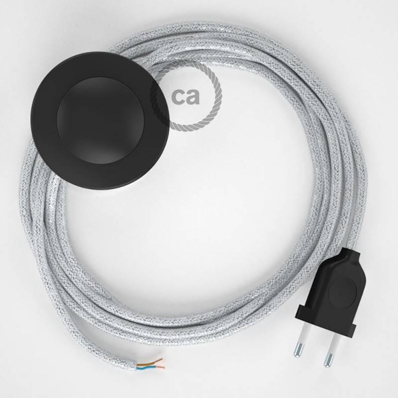 Cordon pour lampadaire, câble RL01 Effet Soie Paillettes Blanc 3 m. Choisissez la couleur de la fiche et de l'interrupteur!