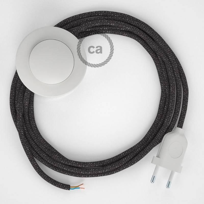 Cordon pour lampadaire, câble RL03 Effet Soie Paillettes Gris 3 m. Choisissez la couleur de la fiche et de l'interrupteur!