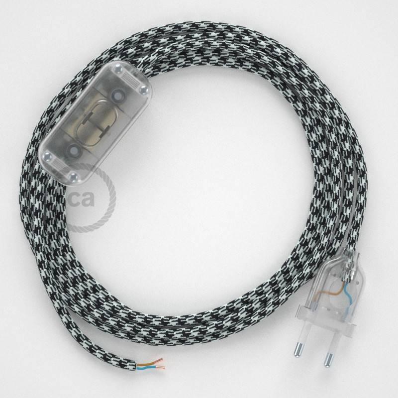 Cordon pour lampe, câble RP04 Effet Soie Bicolore Blanc-Noir 1,80 m. Choisissez la couleur de la fiche et de l'interrupteur!