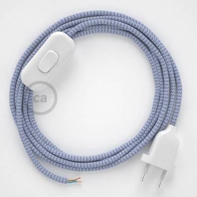 Cordon pour lampe, câble RZ07 Effet Soie ZigZag Blanc-Lilas 1,80 m. Choisissez la couleur de la fiche et de l'interrupteur!