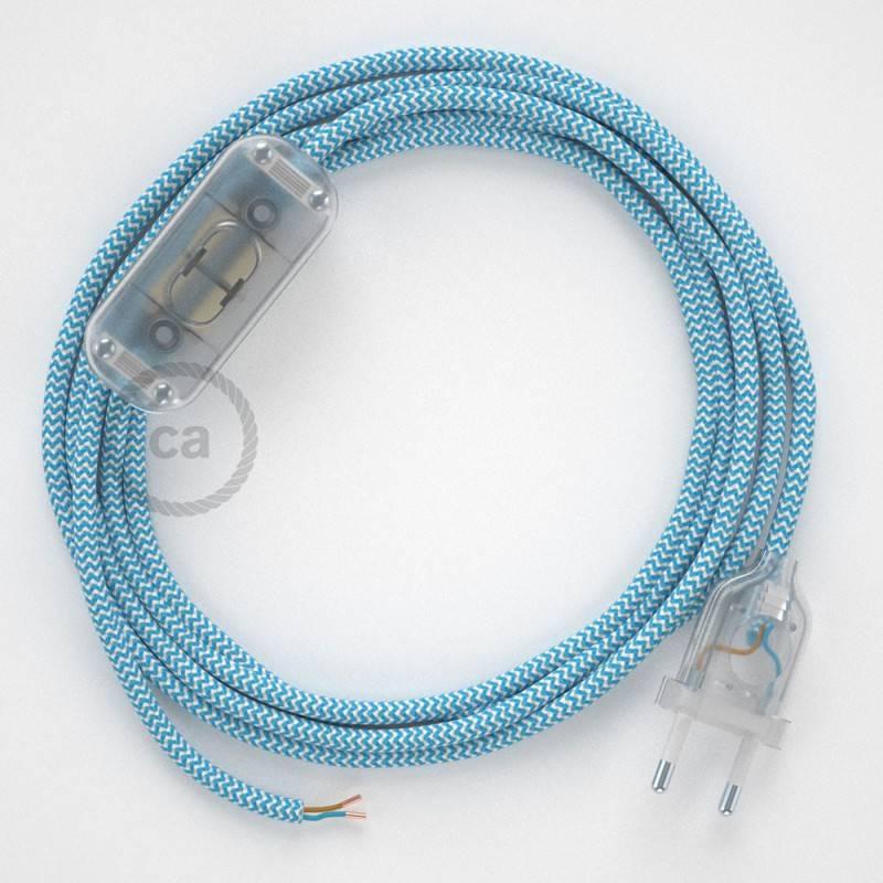 Cordon pour lampe, câble RZ11 Effet Soie ZigZag Blanc-Bleu Clair 1,80 m. Choisissez la couleur de la fiche et de l'interrupteur!