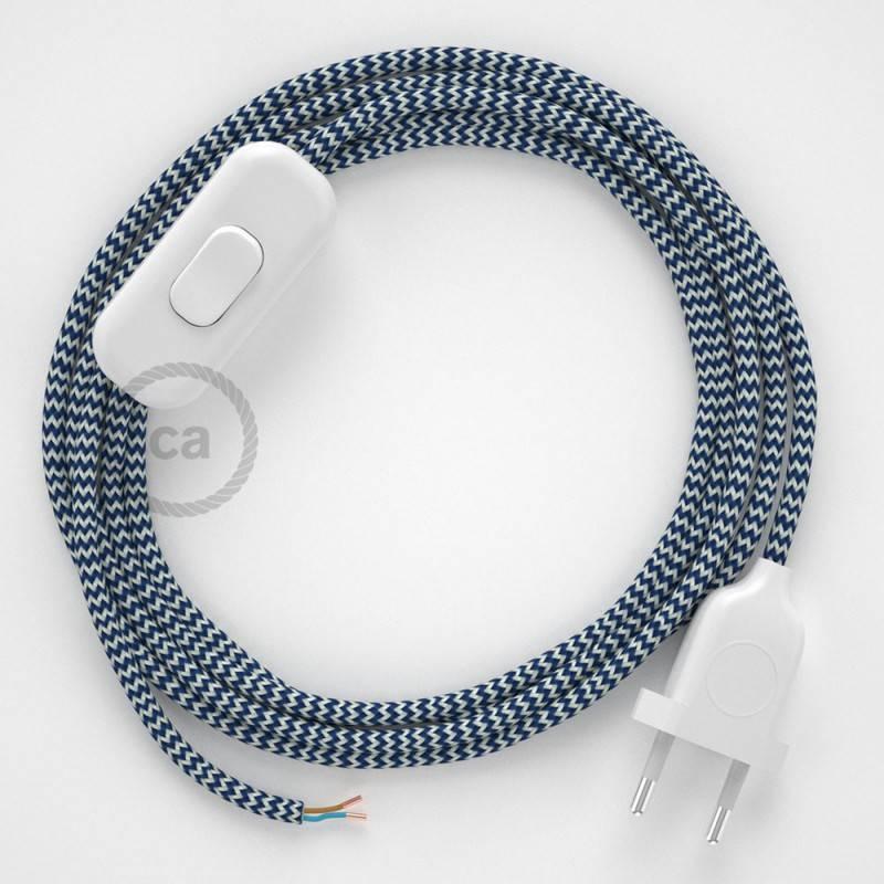 Cordon pour lampe, câble RZ12 Effet Soie ZigZag Blanc-Bleu 1,80 m. Choisissez la couleur de la fiche et de l'interrupteur!