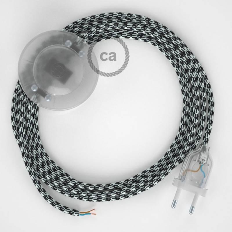 Cordon pour lampadaire, câble RP04 Effet Soie Bicolore Blanc-Noir 3 m. Choisissez la couleur de la fiche et de l'interrupteur!