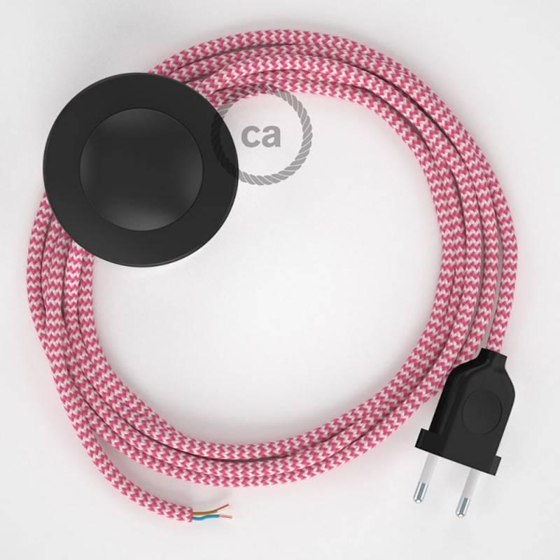 Cordon pour lampadaire, câble RZ08 Effet Soie ZigZag Blanc-Fuchsia 3 m. Choisissez la couleur de la fiche et de l'interrupteur!