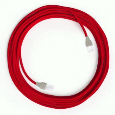Câble Lan Ethernet Cat 5e avec connecteurs RJ45 - RM09 Effet Soie Rouge