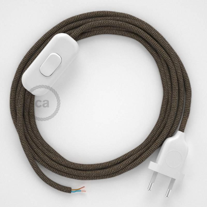 Cordon pour lampe, câble RD73 ZigZag Marron Écorce 1,80 m. Choisissez la couleur de la fiche et de l'interrupteur!