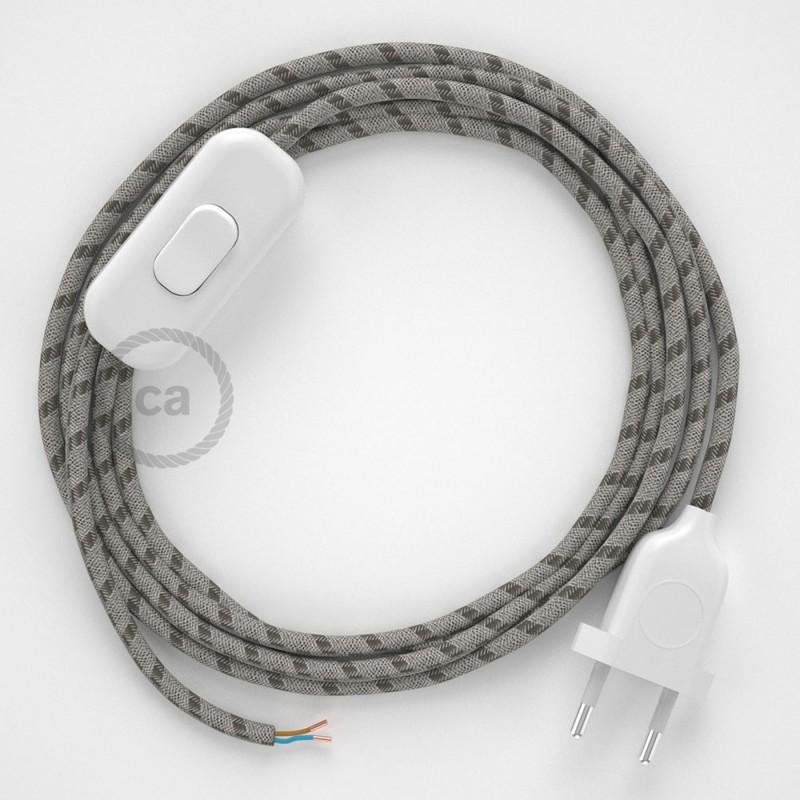 Cordon pour lampe, câble RD53 Stripes Marron Écorce 1,80 m. Choisissez la couleur de la fiche et de l'interrupteur!