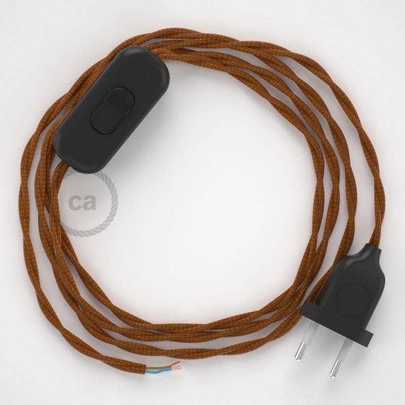 Cordon pour lampe, câble TM22 Effet Soie Whiskey 1,80 m. Choisissez la couleur de la fiche et de l'interrupteur!