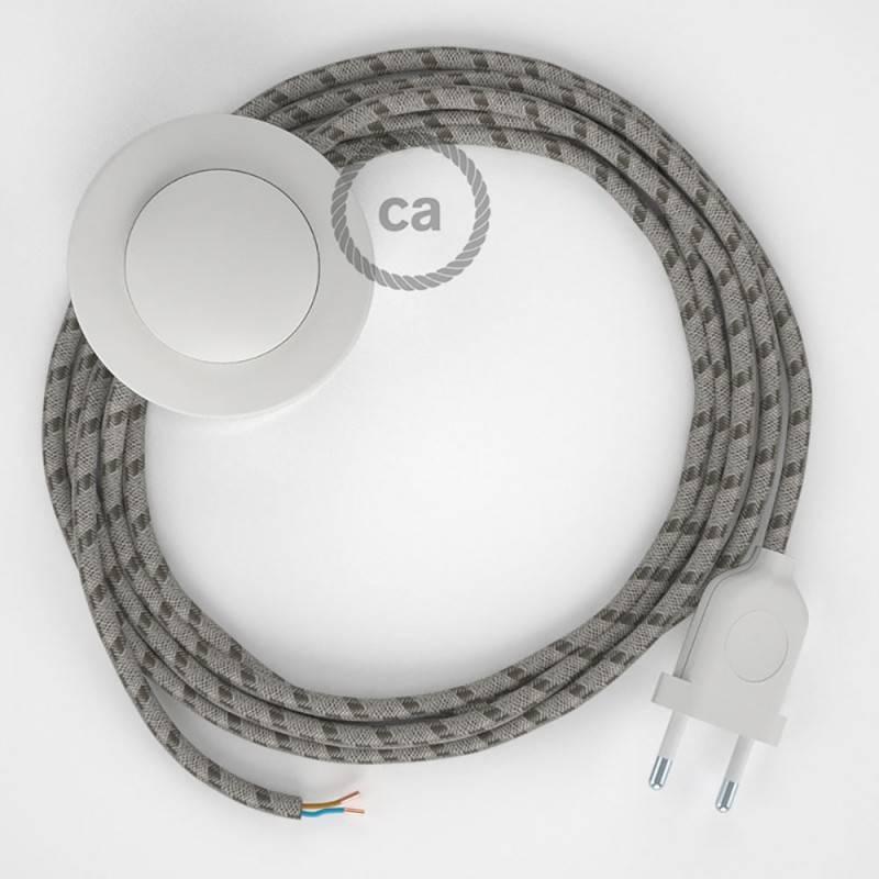 Cordon pour lampadaire, câble RD53 Stripes Marron Écorce 3 m. Choisissez la couleur de la fiche et de l'interrupteur!