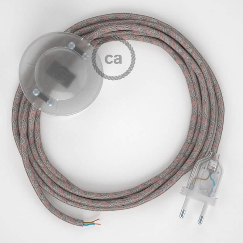 Cordon pour lampadaire, câble RD51 Stripes Vieux Rose 3 m. Choisissez la couleur de la fiche et de l'interrupteur!