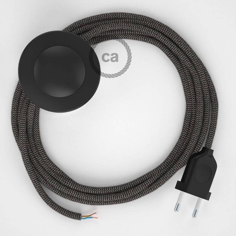 Cordon pour lampadaire, câble RD74 ZigZag Anthracite 3 m. Choisissez la couleur de la fiche et de l'interrupteur!