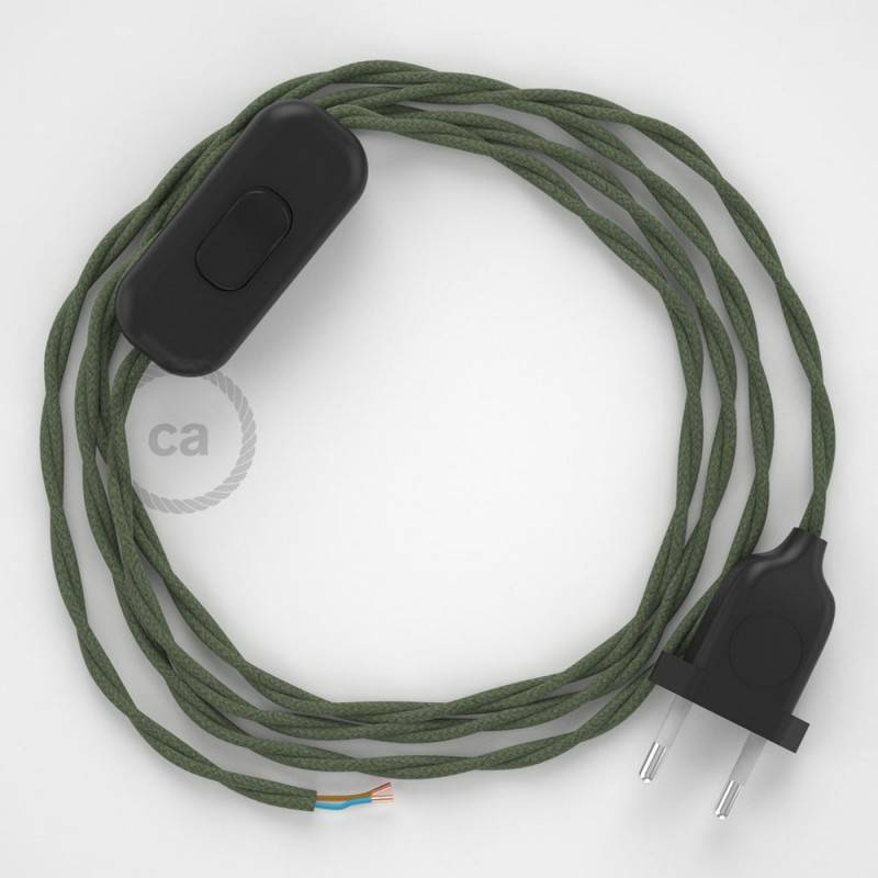 Cordon pour lampe, câble TC63 Coton Vert Gris 1,80 m. Choisissez la couleur de la fiche et de l'interrupteur!