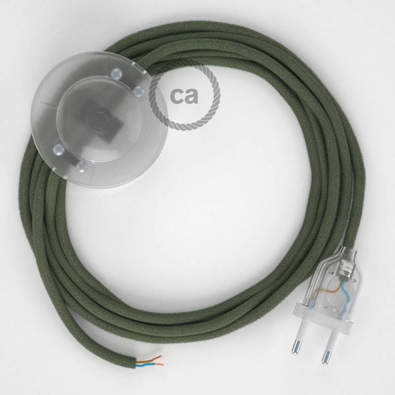 Cordon pour lampadaire, câble RC63 Coton Vert Gris 3 m. Choisissez la couleur de la fiche et de l'interrupteur!
