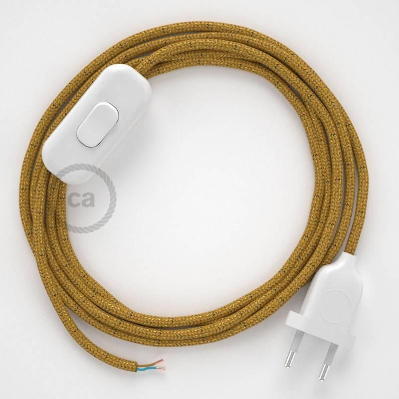 Cordon pour lampe, câble RL05 Effet Soie Paillettes Doré 1,80 m. Choisissez la couleur de la fiche et de l'interrupteur!