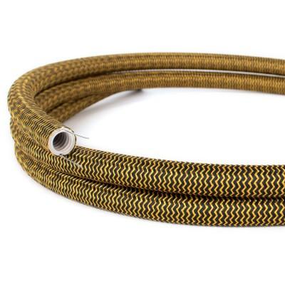Creative-Tube, diamètre 20 mm, recouvert de tissu RZ24 effet soie Gold et Black, gaine de câble malléable