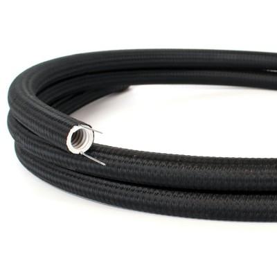 Creative-Tube, tube flexible avec revêtement tissu Effet Soie Noir RM04, diamètre 20 mm