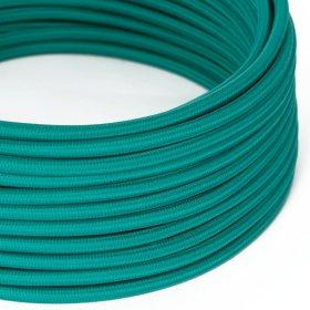 Fil Électrique Rond Gaine De Tissu De Couleur Effet Soie Tissu Uni Turquoise RM71