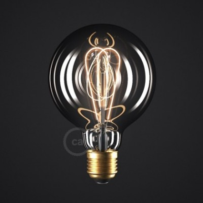 Ampoule Smoky LED Globe G95 Filament Courbe à Double Loop 5W E27 Dimmable 2000K
